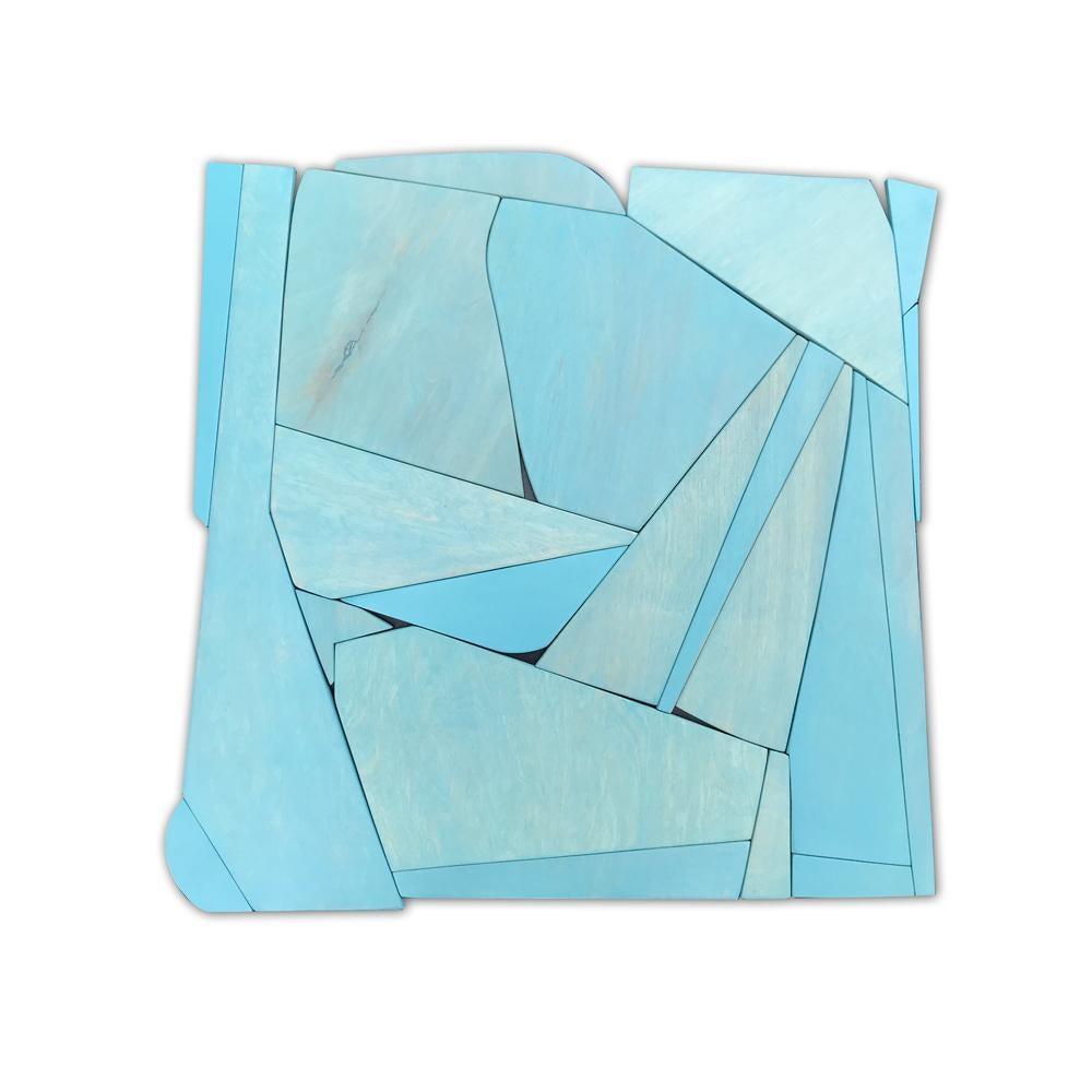 Blue II (modern abstract wall sculpture minimal geometric design blue monochrome