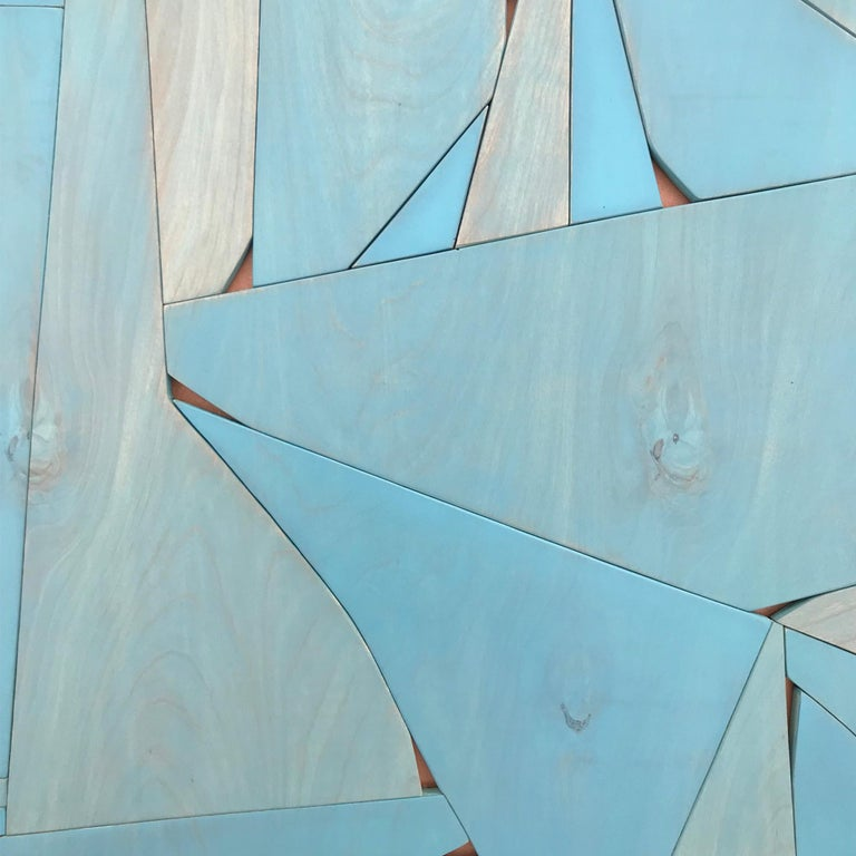 BlueCopper II (modern abstract wall sculpture minimal geometric design blue art) - Sculpture by Scott Troxel