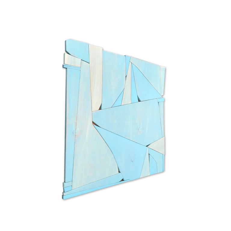 BlueCopper II (modern abstract wall sculpture minimal geometric design blue art) - Minimalist Sculpture by Scott Troxel
