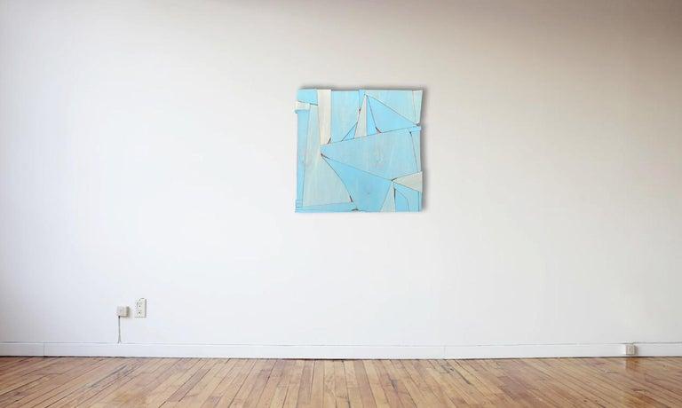 BlueCopper II (modern abstract wall sculpture minimal geometric design blue art) - Brown Abstract Sculpture by Scott Troxel