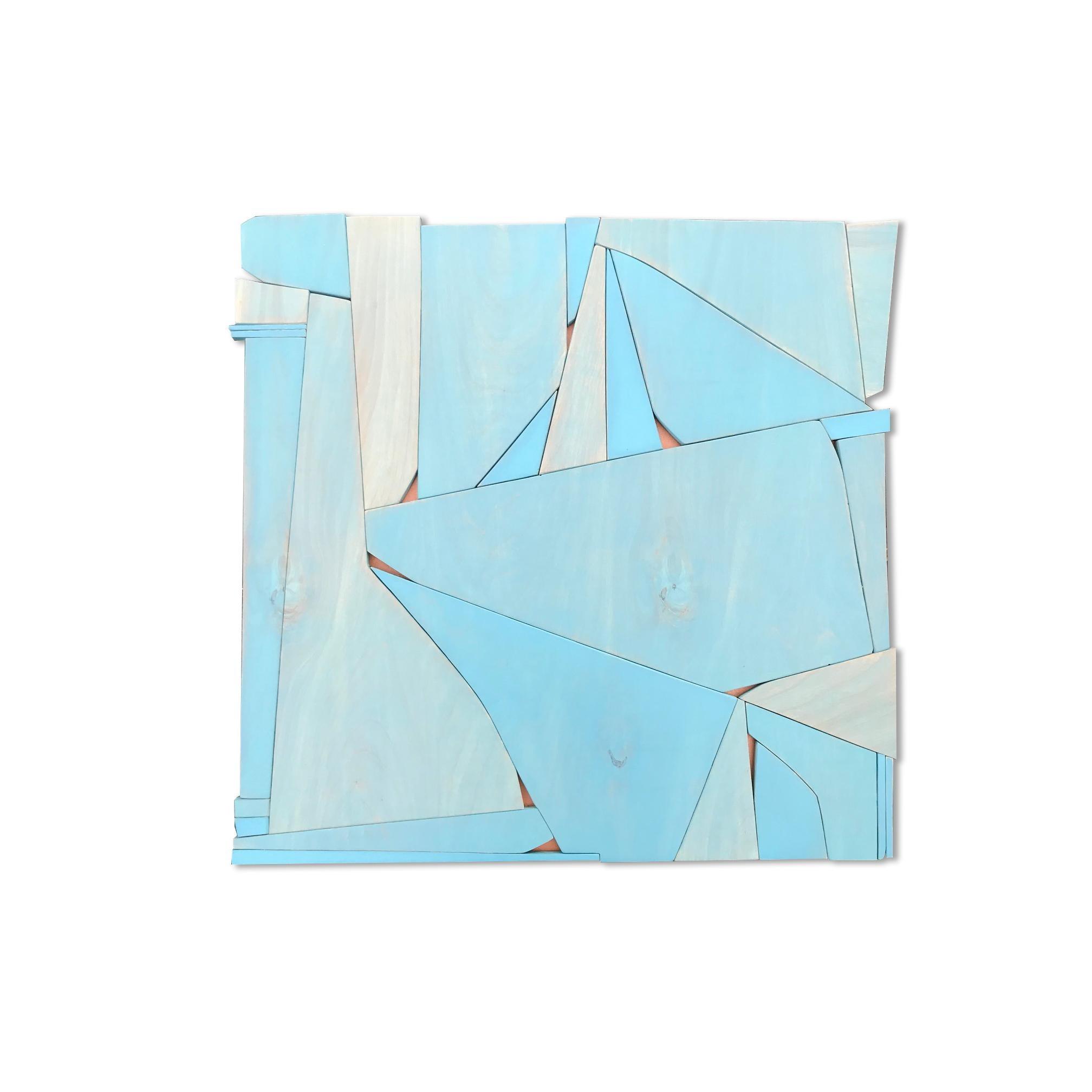 BlueCopper II (modern abstract wall sculpture minimal geometric design blue art)