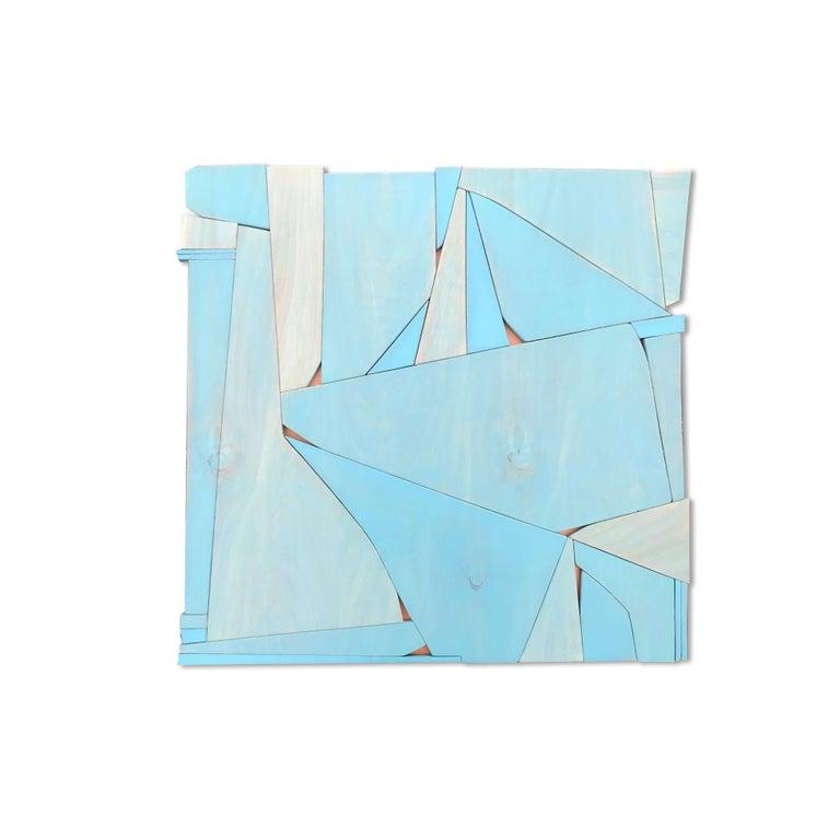 Scott Troxel Abstract Sculpture - BlueCopper II (modern abstract wall sculpture minimal geometric design blue art)