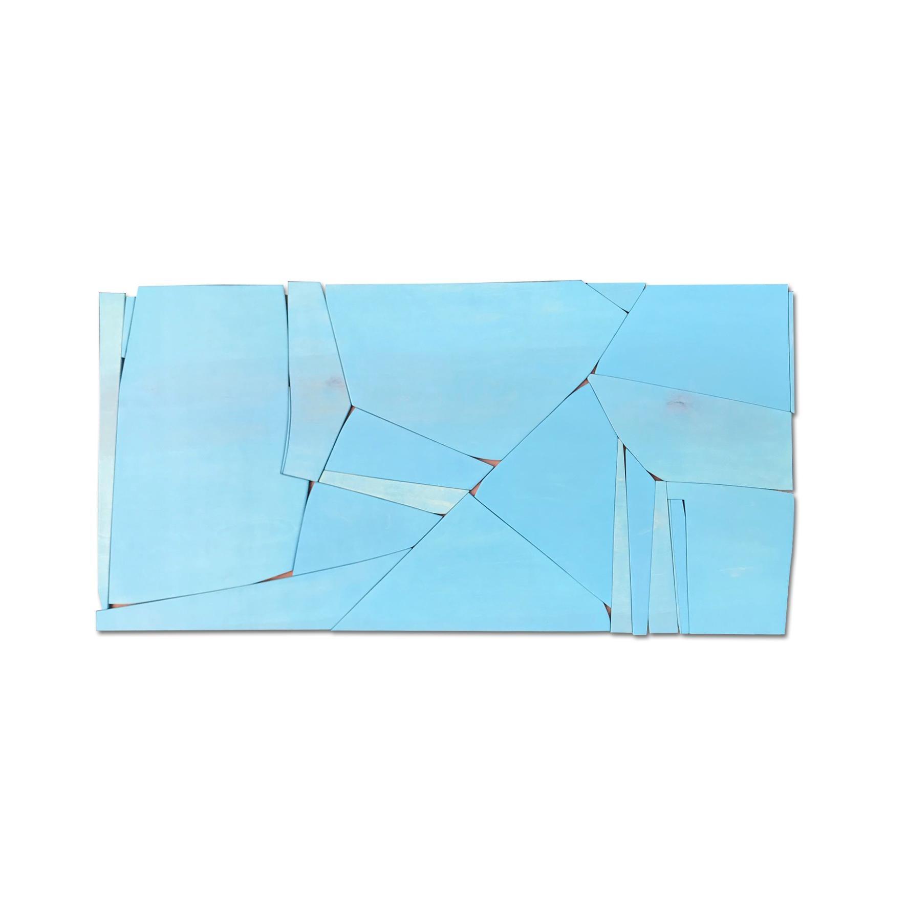 BlueTwo (modern abstract wall sculpture minimal geometric design blue wood art)