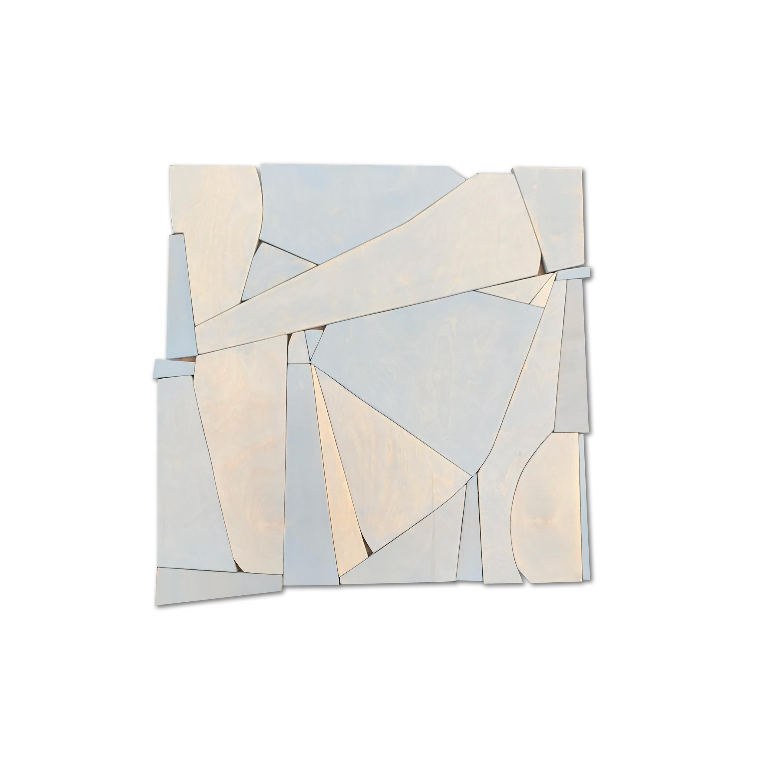 Bottlenose II (modern abstract wall sculpture minimal geometric design neutrals)