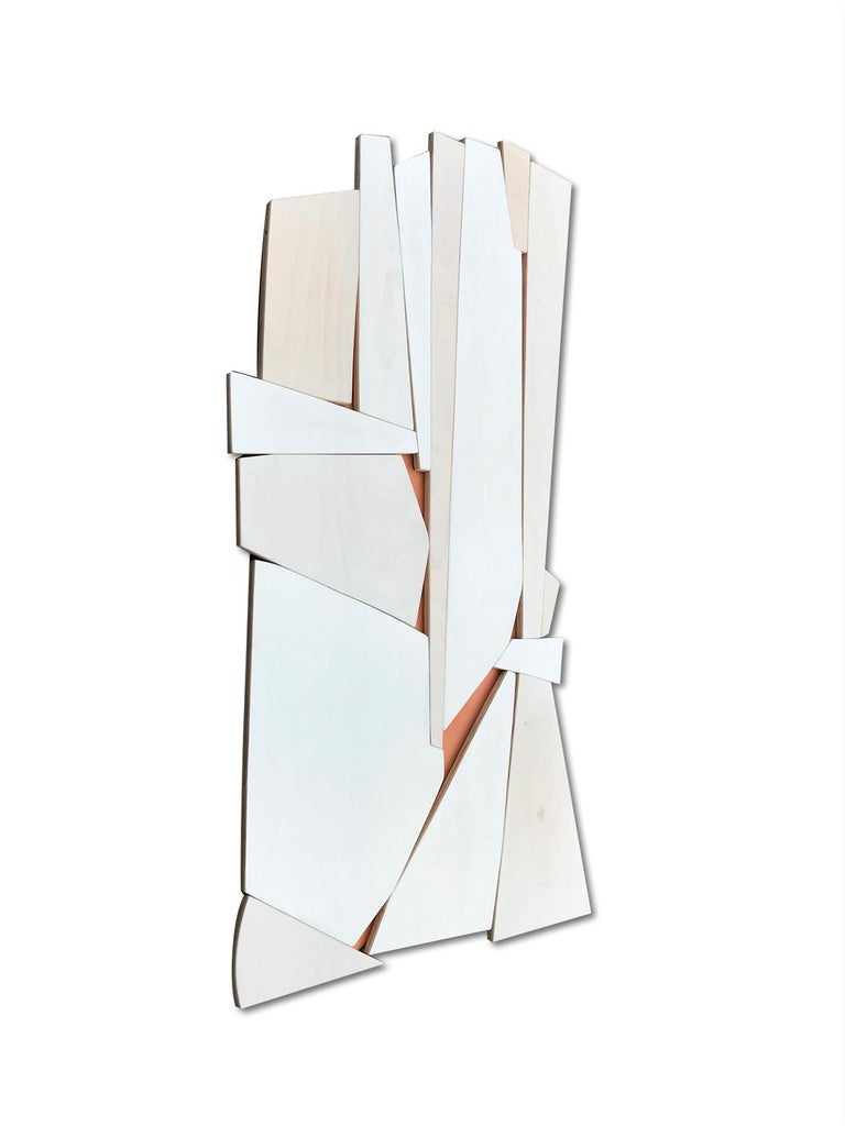 Cathedral 2 (wood modern monochrome wall sculpture minimal geometric design - Painting by Scott Troxel