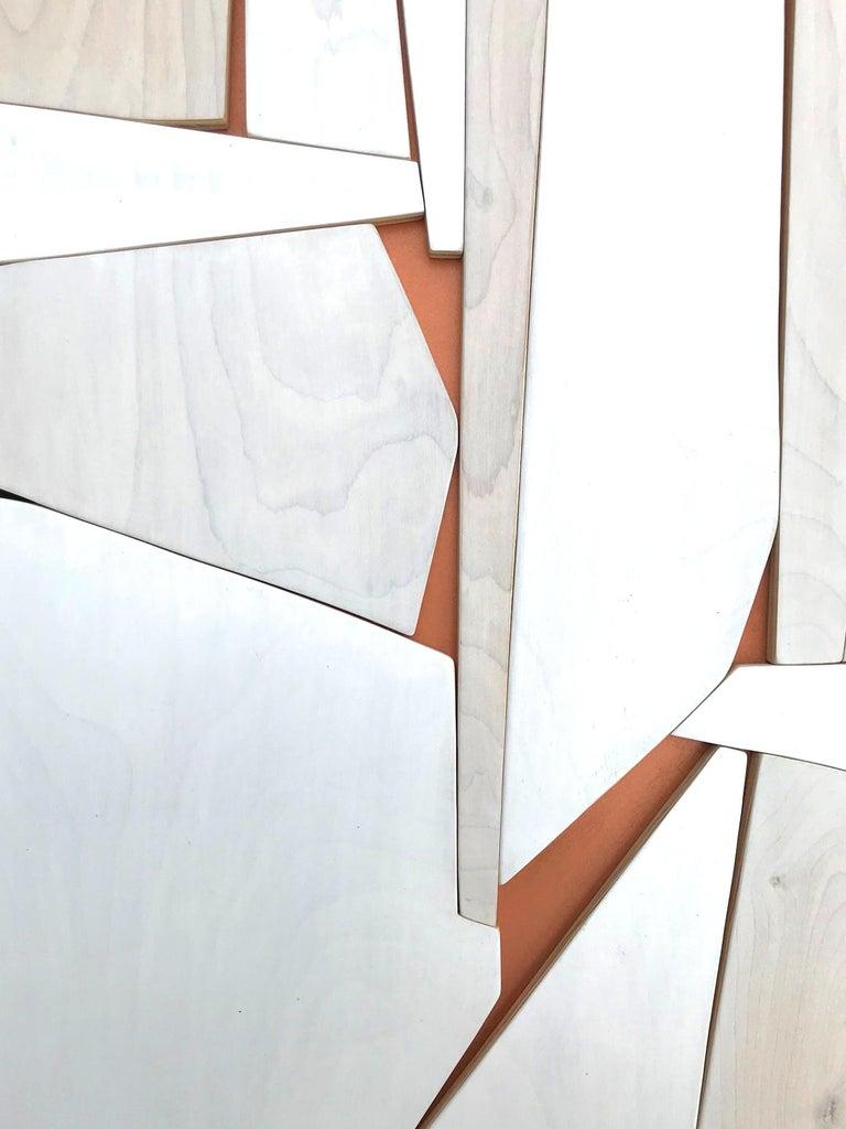 Cathedral 2 (wood modern monochrome wall sculpture minimal geometric design - Minimalist Painting by Scott Troxel