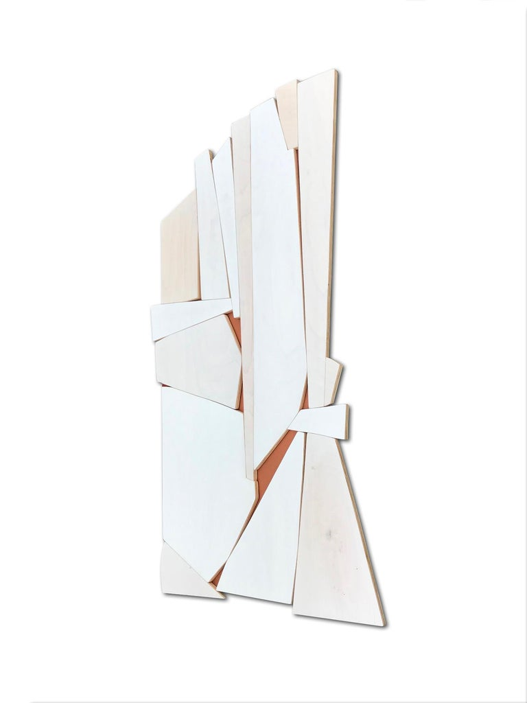 Cathedral 2 (wood modern monochrome wall sculpture minimal geometric design - Brown Abstract Painting by Scott Troxel