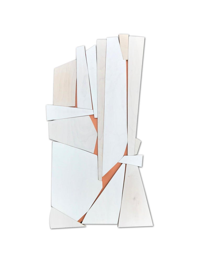 Scott Troxel Abstract Painting - Cathedral 2 (wood modern monochrome wall sculpture minimal geometric design