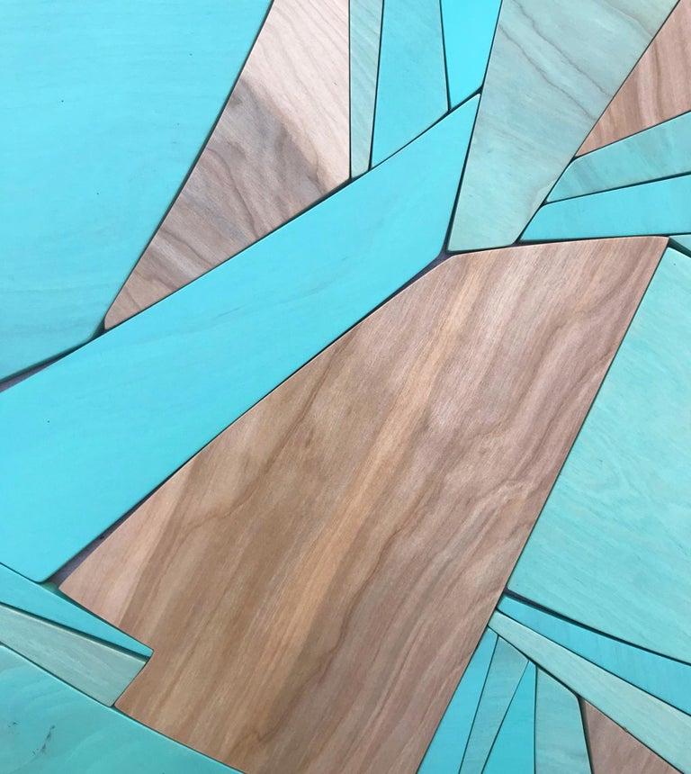 Coastal Span (wood Art Deco wall sculpture minimal geometric modern Azul blue 6