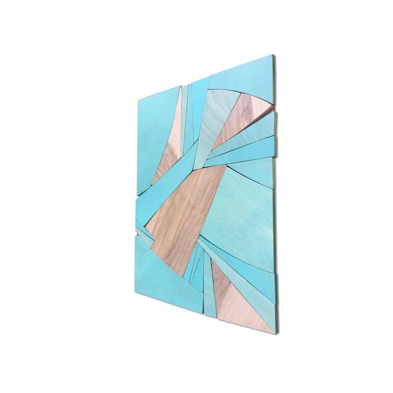 Coastal Span (wood Art Deco wall sculpture minimal geometric modern Azul blue 7