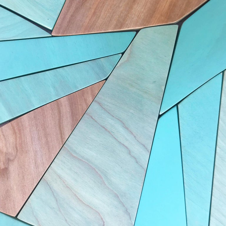 Coastal Span (wood Art Deco wall sculpture minimal geometric modern Azul blue - Blue Abstract Sculpture by Scott Troxel