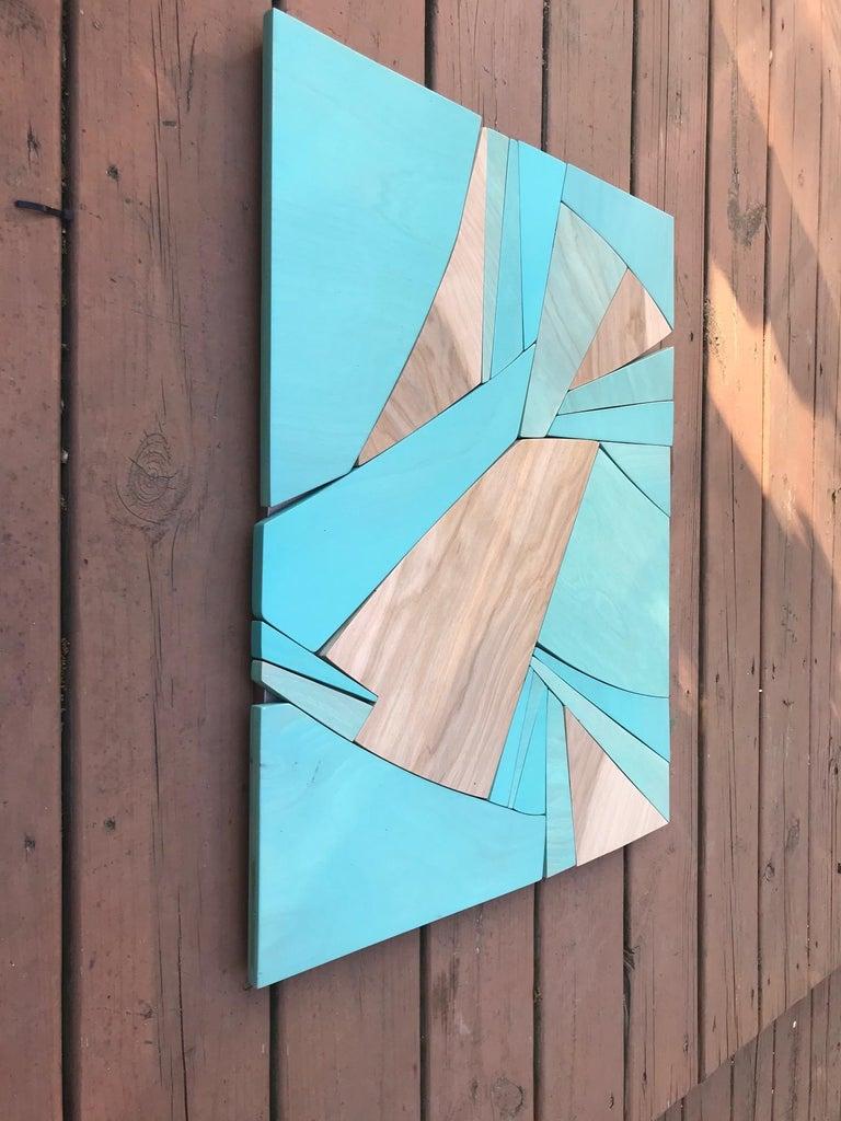 Coastal Span (wood Art Deco wall sculpture minimal geometric modern Azul blue 1
