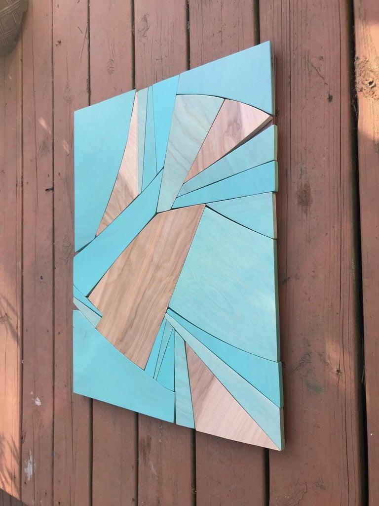 Coastal Span (wood Art Deco wall sculpture minimal geometric modern Azul blue 2