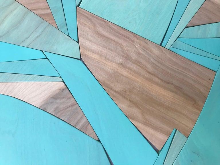 Coastal Span (wood Art Deco wall sculpture minimal geometric modern Azul blue 3