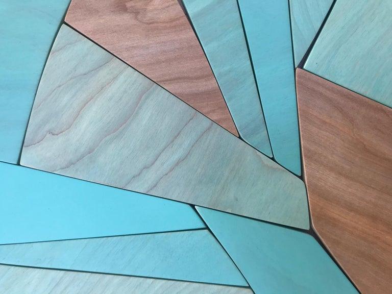 Coastal Span (wood Art Deco wall sculpture minimal geometric modern Azul blue 4