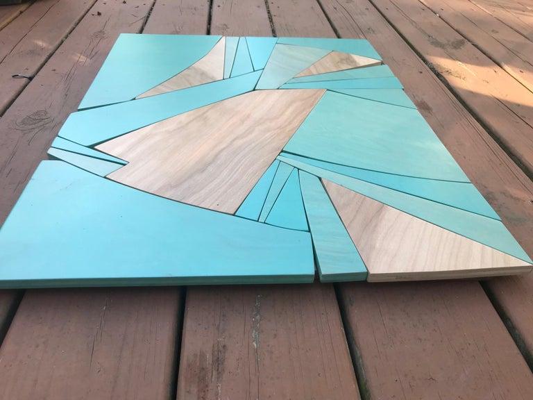 Coastal Span (wood Art Deco wall sculpture minimal geometric modern Azul blue 5
