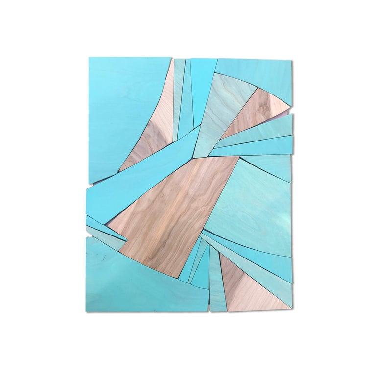 Scott Troxel Abstract Sculpture - Coastal Span (wood Art Deco wall sculpture minimal geometric modern Azul blue