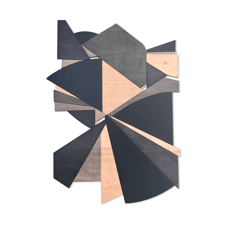 Deceptor  (grey charcoal tan black modern art deco wall sculpture geometric art)
