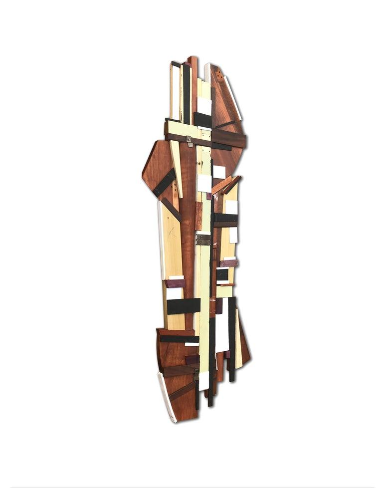 Dechamp (modern abstract wall sculpture natural wood geometric design neutrals) - Painting by Scott Troxel