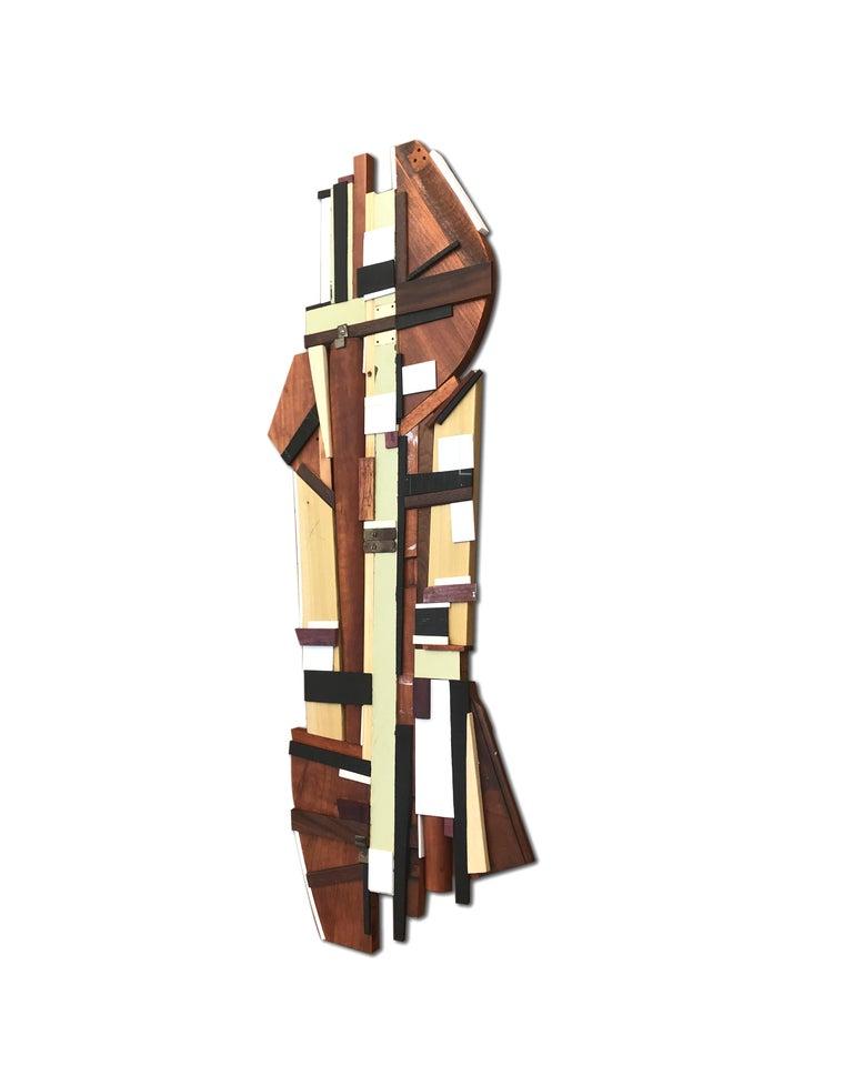 Dechamp (modern abstract wall sculpture natural wood geometric design neutrals) - Modern Painting by Scott Troxel