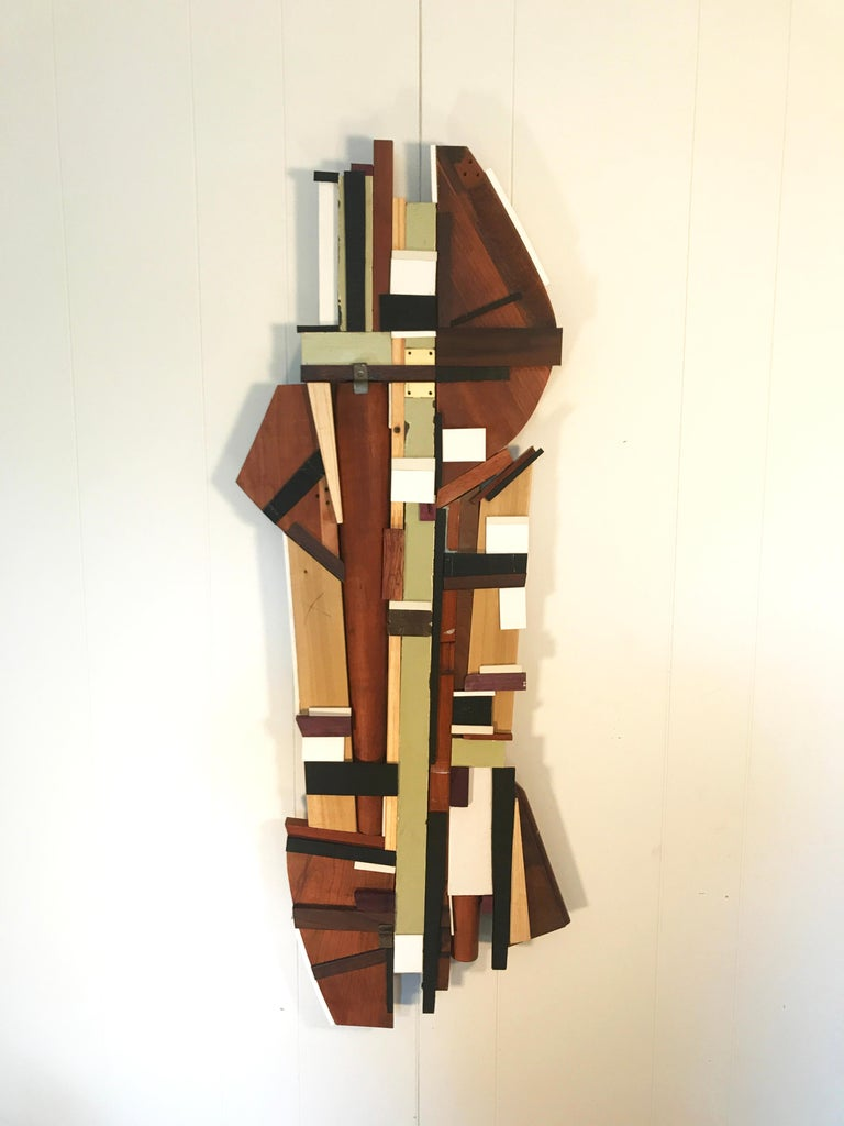 Dechamp (modern abstract wall sculpture natural wood geometric design neutrals) - Brown Abstract Painting by Scott Troxel