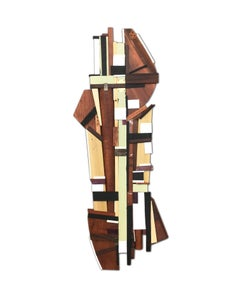 Dechamp (modern abstract wall sculpture natural wood geometric design neutrals)