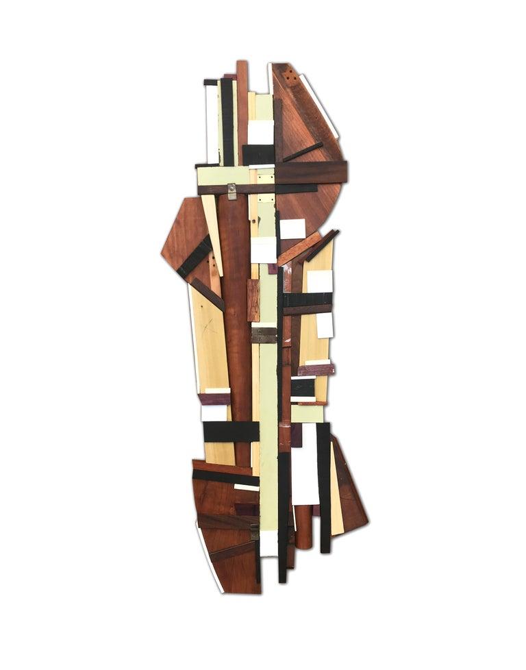 Scott Troxel Abstract Painting - Dechamp (modern abstract wall sculpture natural wood geometric design neutrals)