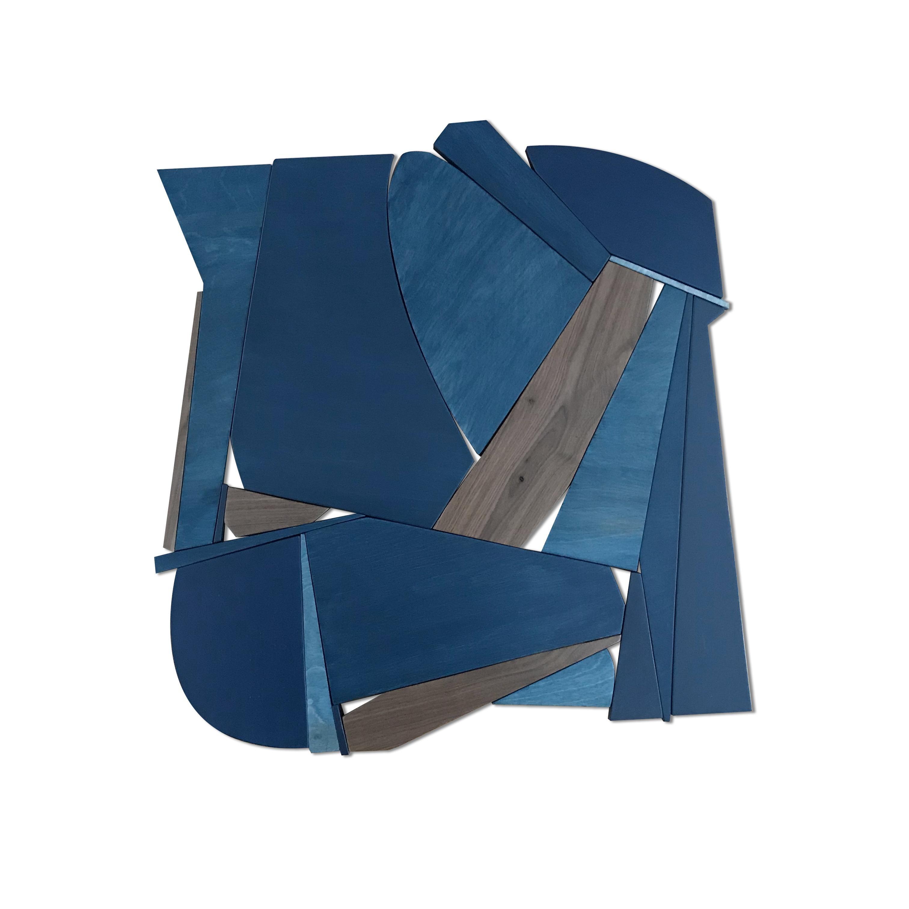 Denim Blue I (modern abstract wall sculpture minimal monochrome art deco wood)