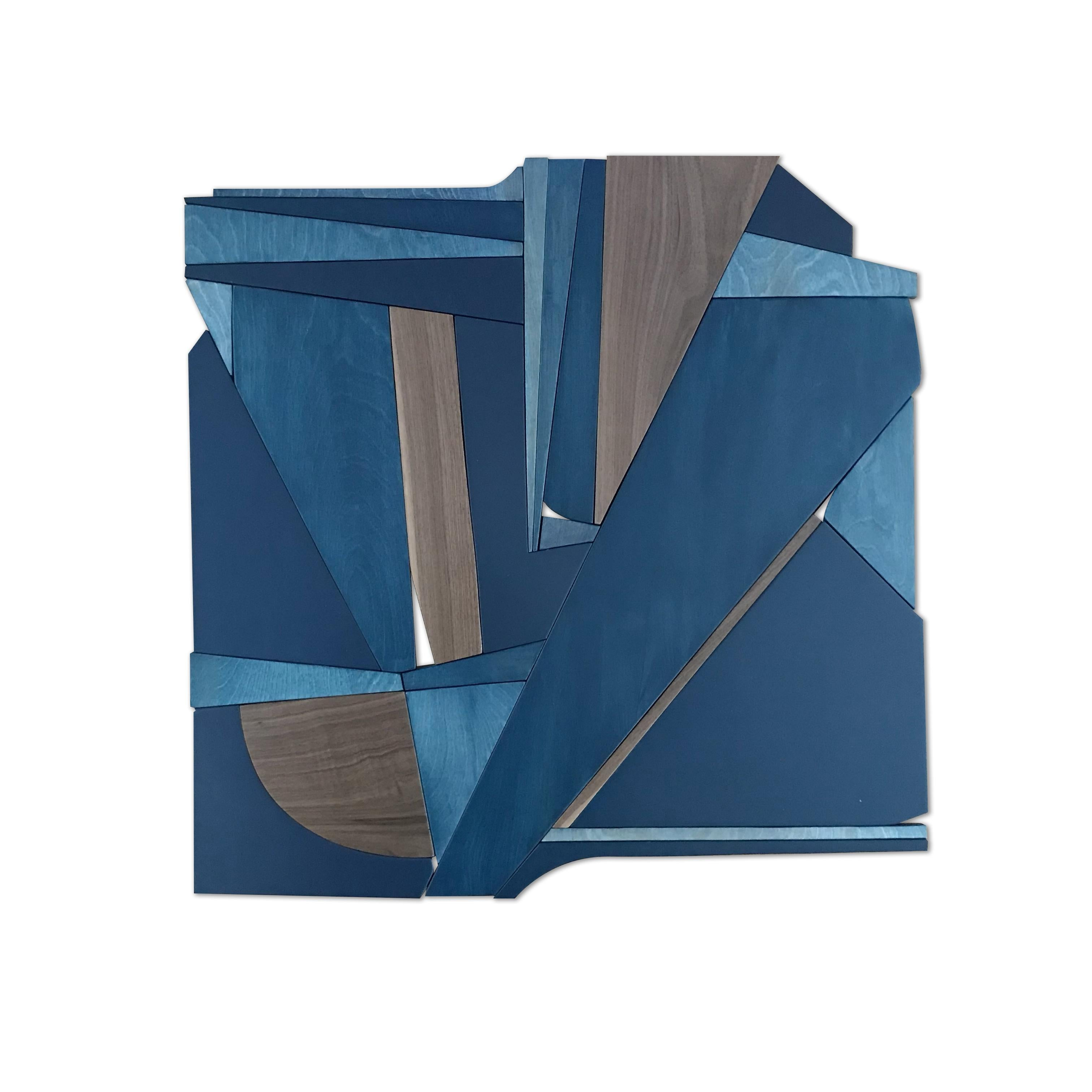 Denim Blue II (modern abstract wall sculpture minimal monochrome art deco wood)