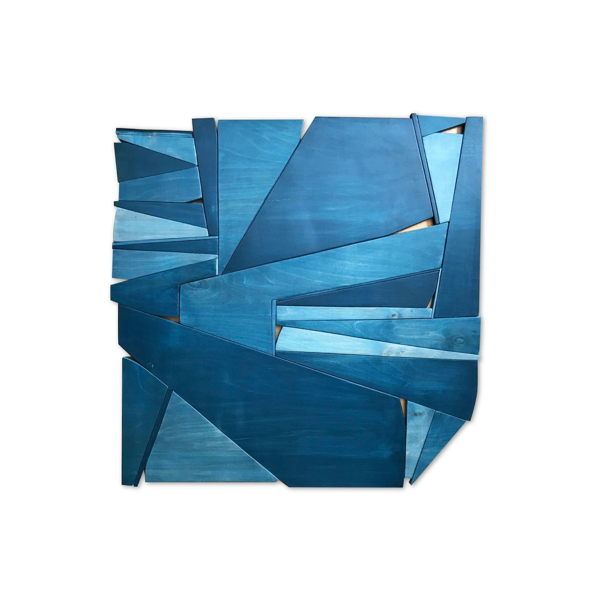 Denim II (modern abstract wall sculpture minimal monochrom design blue art wood)