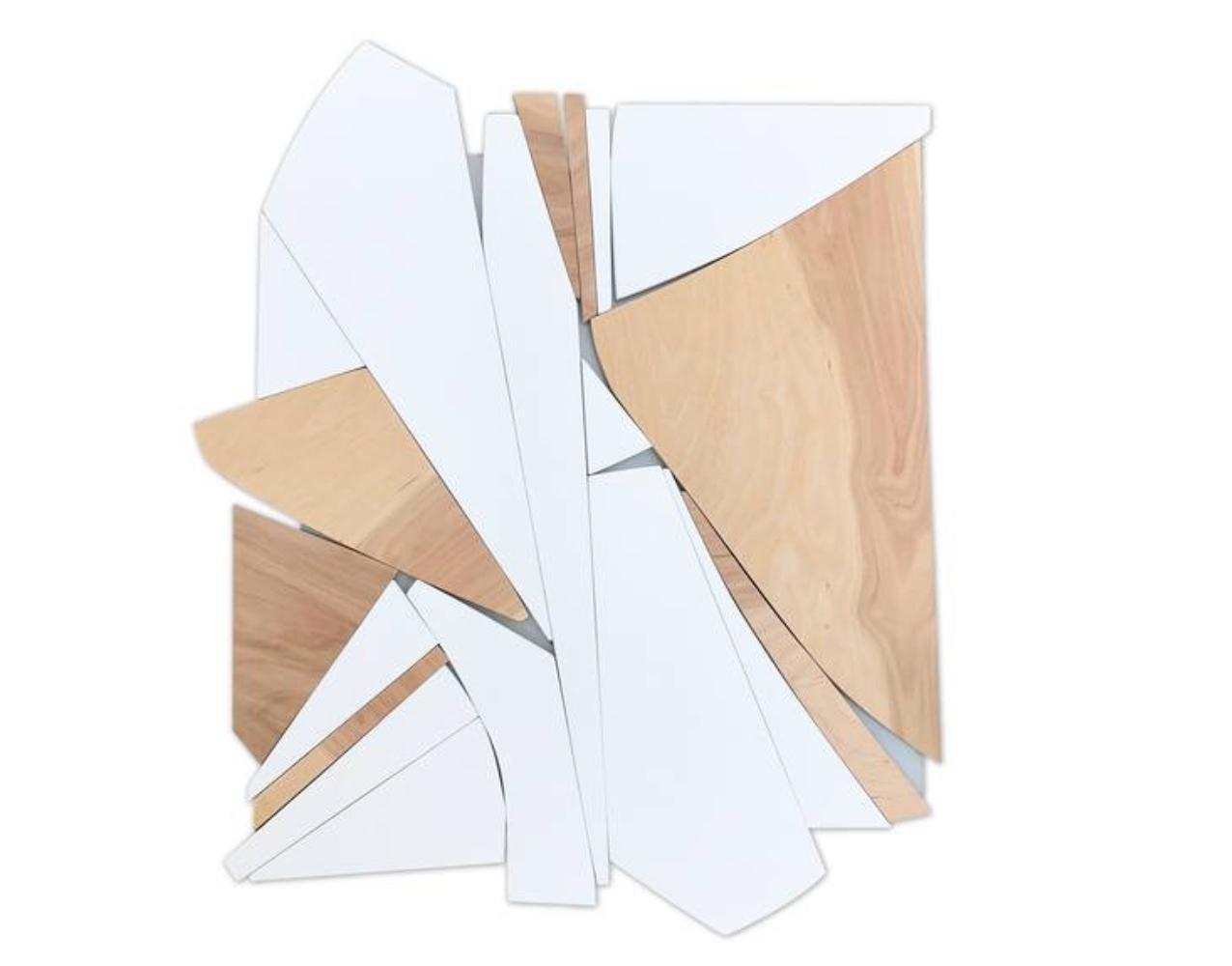 Divergence (wood Art Deco wall sculpture minimal geometric modern white vanilla