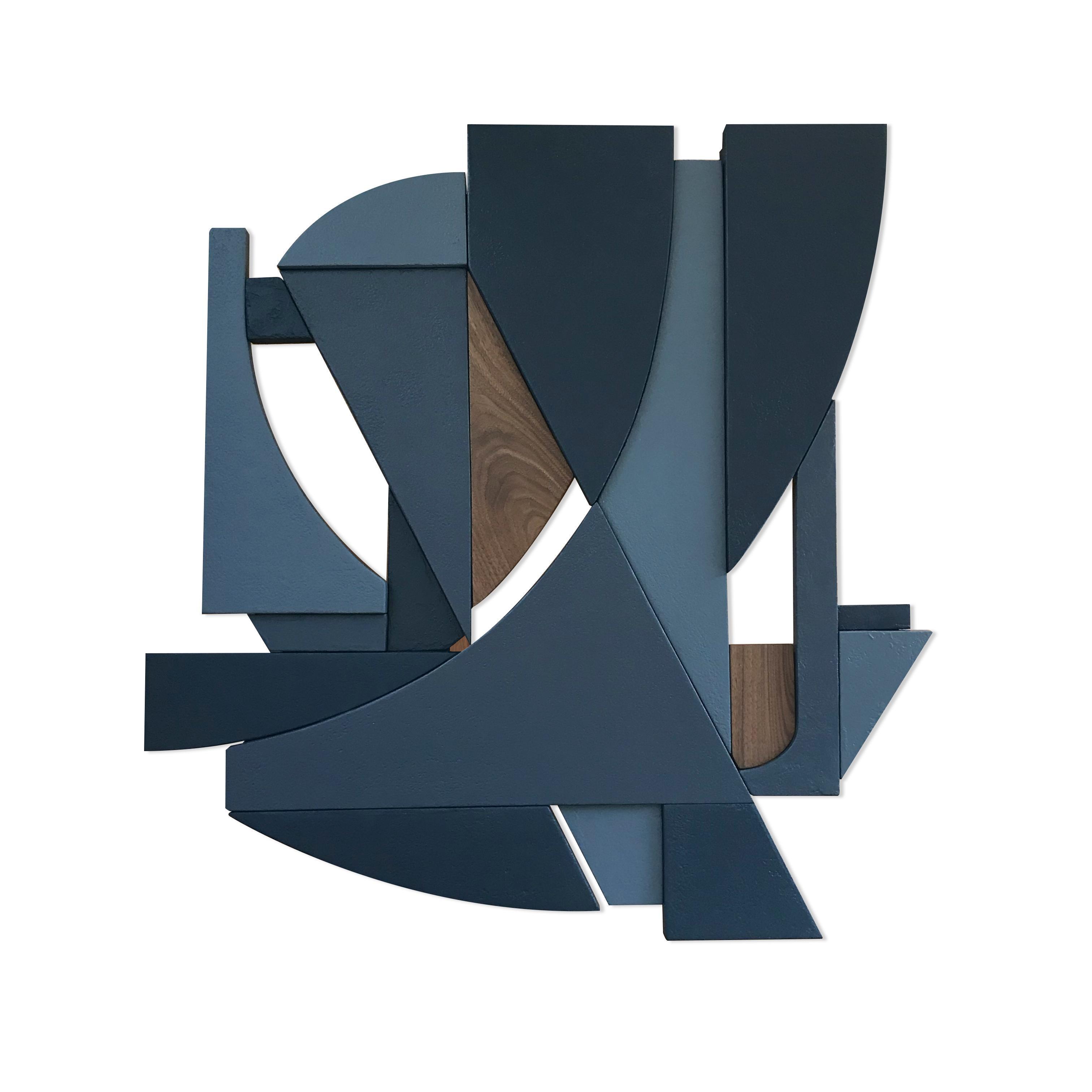 Falconer  (indigo grey ink blue modern art deco wall sculpture geometric art)