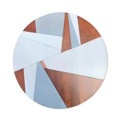 Holocene (tondo copper circular modern wall sculpture abstract geometric art)