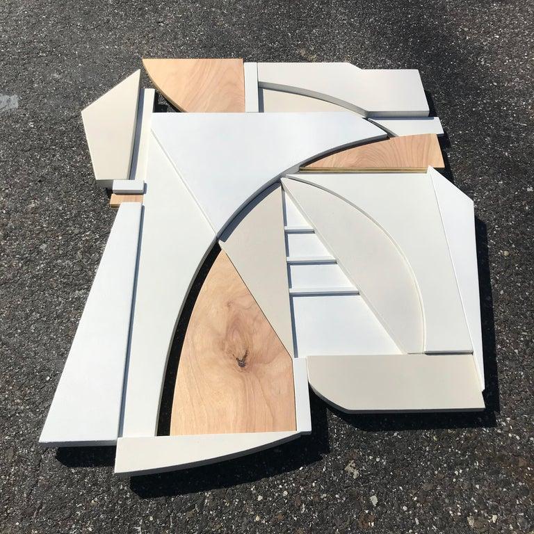 King (modern art deco abstract wall sculpture geometric white natural monochrome - Art Deco Sculpture by Scott Troxel