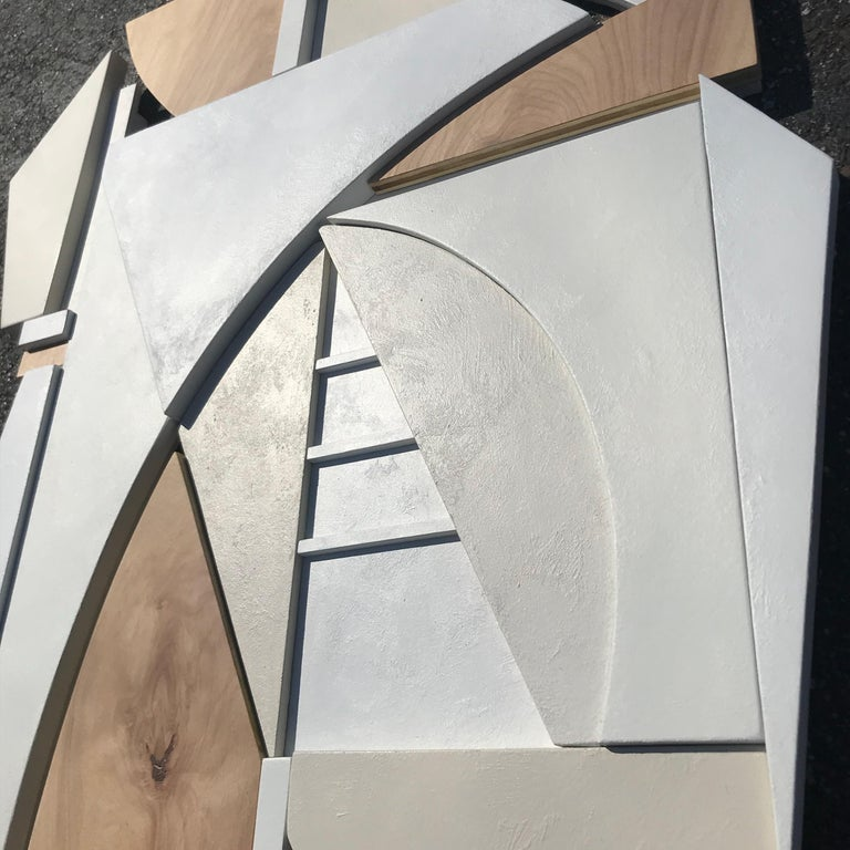 King is a modern mixed media wall sculpture. Made from Italian plaster paint, paint, birch panel, and MDF. This is the second piece I made as I begin to experiment with additional materials in my wall sculptures, outside of paint, resin, wood and