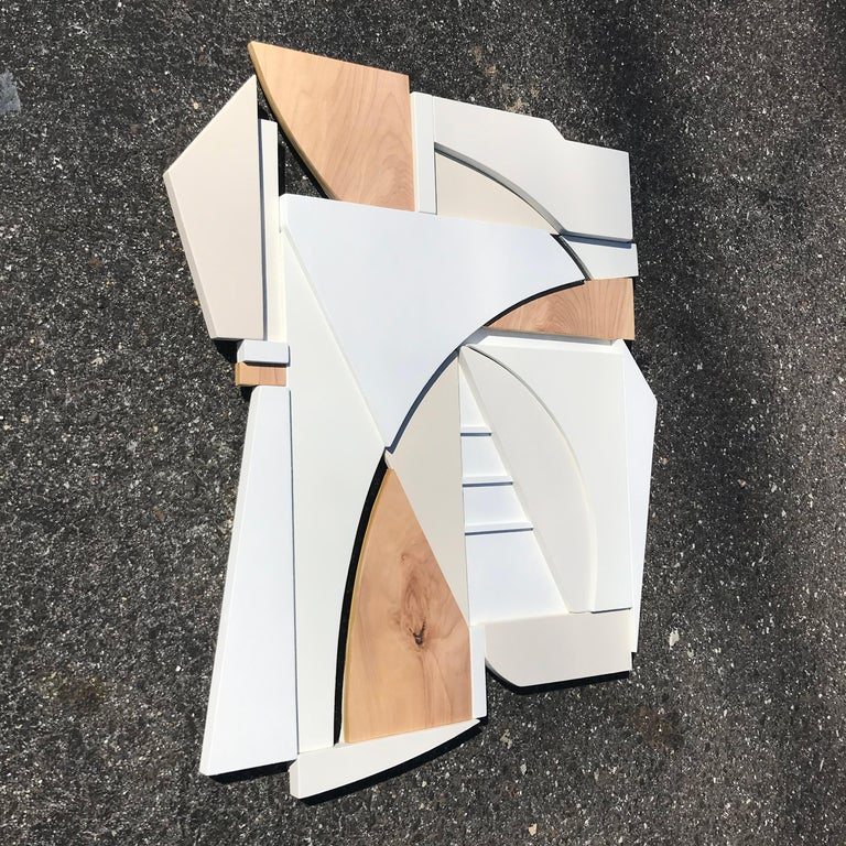 King (modern art deco abstract wall sculpture geometric white natural monochrome For Sale 1