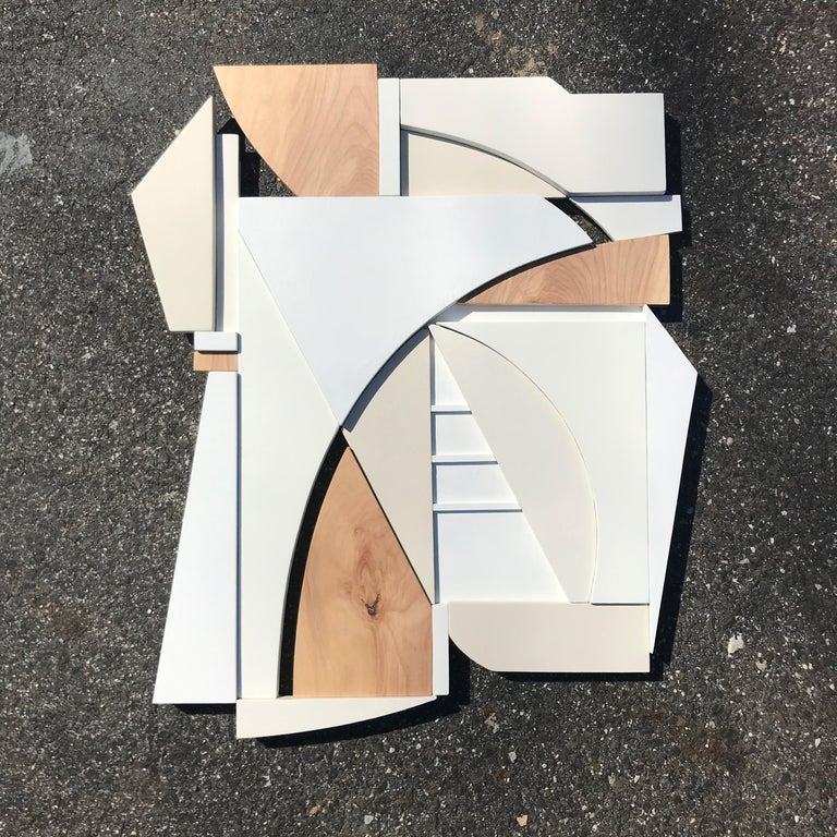 King (modern art deco abstract wall sculpture geometric white natural monochrome For Sale 2