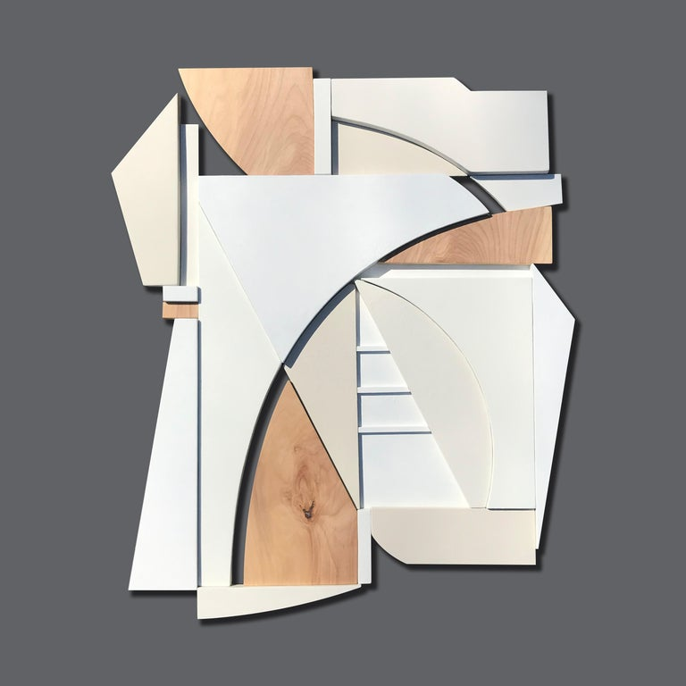 King (modern art deco abstract wall sculpture geometric white natural monochrome For Sale 3