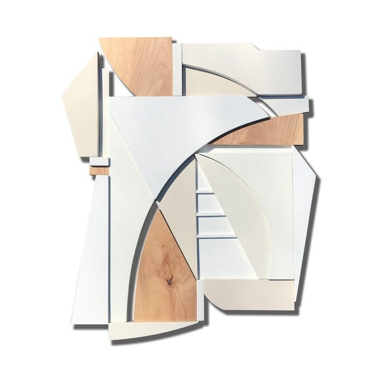 Scott Troxel Abstract Sculpture - King (modern art deco abstract wall sculpture geometric white natural monochrome