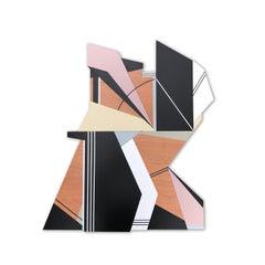 Kratos (wood wall sculpture modern Art Deco design neutrals abstract geometric)