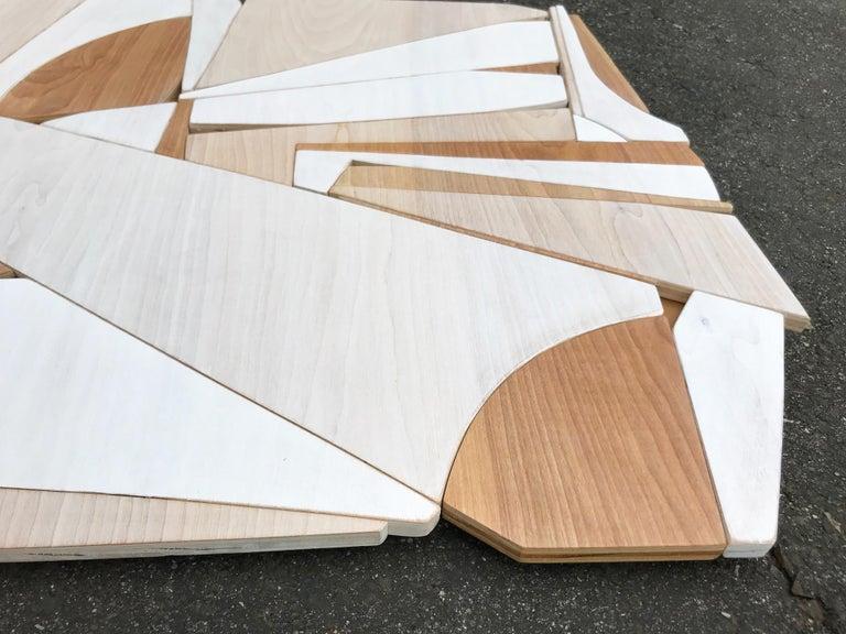 Leisure Class II (modern abstract wall art minimal geometric design neutral wood - Sculpture by Scott Troxel