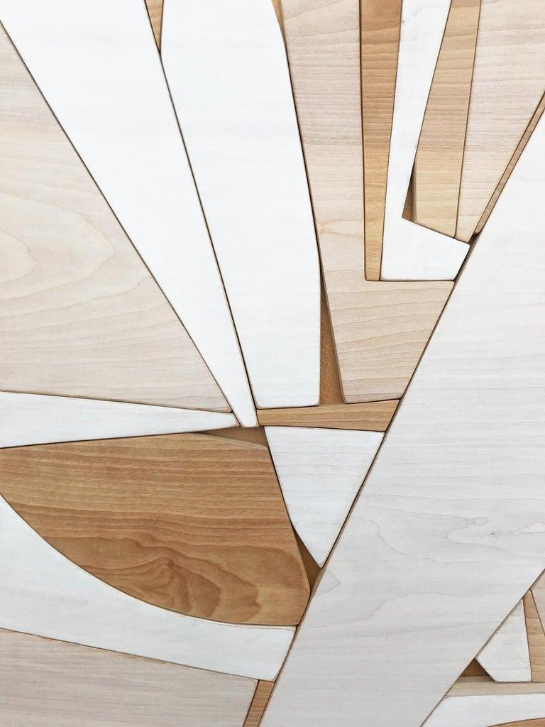 Leisure Class II (modern abstract wall art minimal geometric design neutral wood - Minimalist Sculpture by Scott Troxel