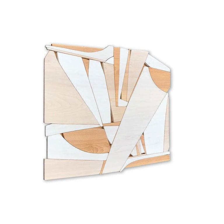 Leisure Class II (modern abstract wall art minimal geometric design neutral wood - Brown Abstract Sculpture by Scott Troxel