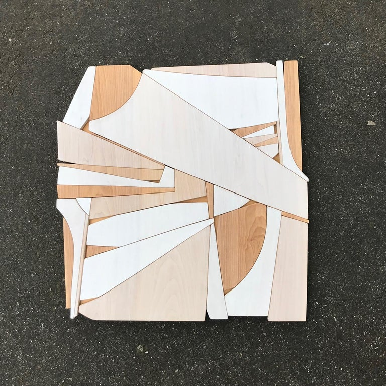 Leisure Class II (modern abstract wall art minimal geometric design neutral wood For Sale 1