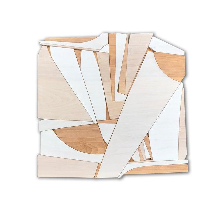 Scott Troxel Abstract Sculpture - Leisure Class II (modern abstract wall art minimal geometric design neutral wood