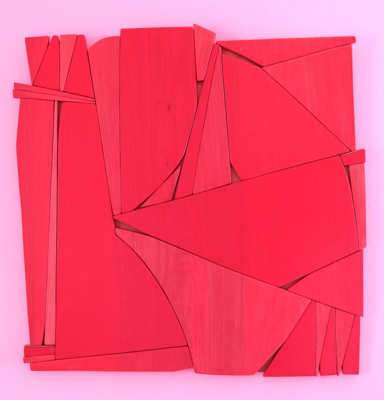Lipstick Red (modern abstract wall sculpture minimal geometric design red wood) For Sale 1