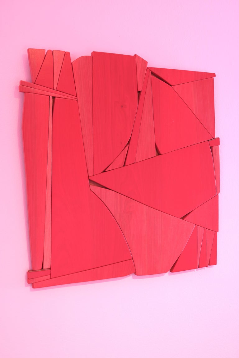 Lipstick Red (modern abstract wall sculpture minimal geometric design red wood) For Sale 2