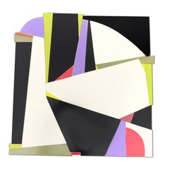 Martini (modern black and white wall sculpture abstract geometric wood design)