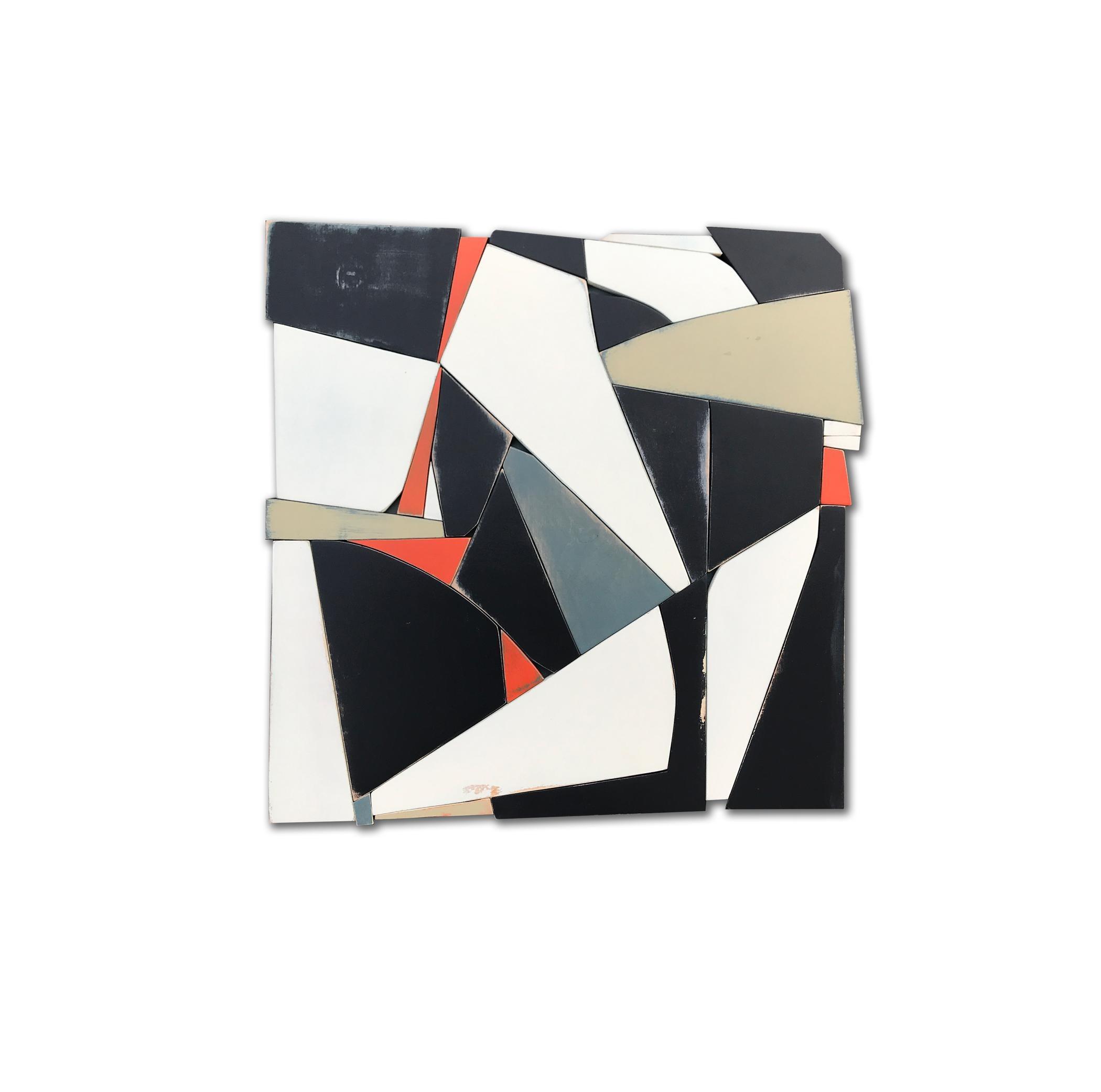 Merchant of Speed (modern abstract wall sculpture black white geometric design)