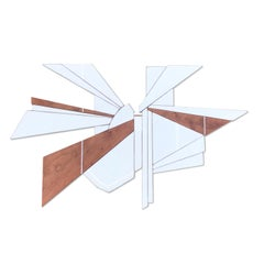 North Star (Wyatt Khan white natural wood abstract wall sculpture geometric art)